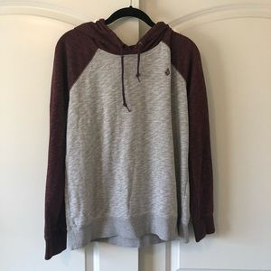 Gray and Burgundy Volcom Hoodie